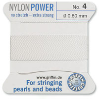 #4 White Griffin Nylon Bead Cord (2 Meters)