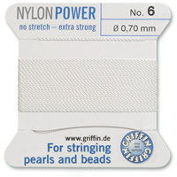 #6 White Griffin Nylon Bead Cord (2 Meters)