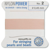 #2 Pink Griffin Nylon Bead Cord (2 Meters)