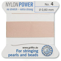 #4 Pink Griffin Nylon Bead Cord (2 Meters)