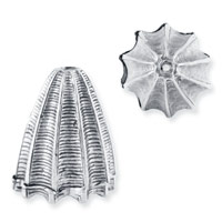Bead Cap Ribbed 13x17mm Pewter Antique Silver Plated