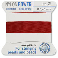 #2 Garnet Griffin Nylon Bead Cord (2 Meters)