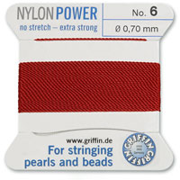 #6 Garnet Griffin Nylon Bead Cord (2 Meters)