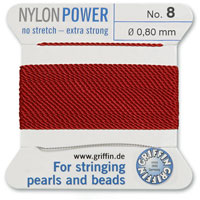 #8 Garnet Griffin Nylon Bead Cord (2 Meters)