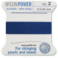 #2 Blue Griffin Nylon Bead Cord (2 Meters)