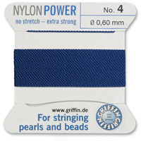 #4 Blue Griffin Nylon Bead Cord (2 Meters)