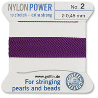 #2 Amethyst Griffin Nylon Bead Cord (2 Meters)
