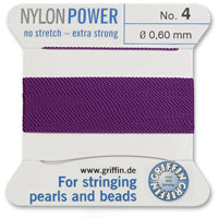#4 Amethyst Griffin Nylon Bead Cord (2 Meters)