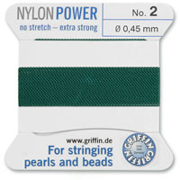 #2 Medium Green Griffin Nylon Bead Cord (2 Meters)