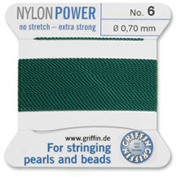 #6 Green Griffin Nylon Bead Cord (2 Meters)