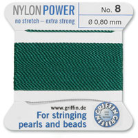 #8 Green Griffin Nylon Bead Cord (2 Meters)