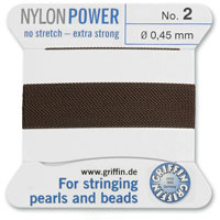 #2 Brown Griffin Nylon Bead Cord (2 Meters)