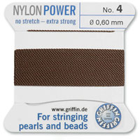 #4 Brown Griffin Nylon Bead Cord (2 Meters)