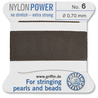 #6 Brown Griffin Nylon Bead Cord (2 Meters)