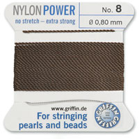 #8 Brown Griffin Nylon Bead Cord (2 Meters)