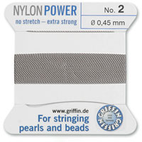 #2 Grey Griffin Nylon Bead Cord (2 Meters)
