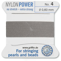 #4 Grey Griffin Nylon Bead Cord (2 Meters)