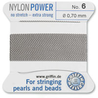 #6 Grey Griffin Nylon Bead Cord (2 Meters)