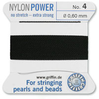 #4 Black Griffin Nylon Bead Cord (2 Meters)