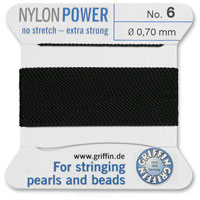 #6 Black Griffin Nylon Bead Cord (2 Meters)