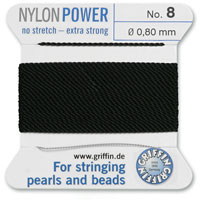 #8 Black Griffin Nylon Bead Cord (2 Meters)