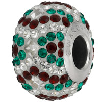 Swarovski Crystal BeCharmed Pave Christmas Bead 82053 14mm Siam Emerald Bead (1-Pc)