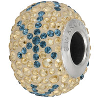 Swarovski Crystal BeCharmed Pave Snowflake Bead 82063 14mm Montana Gold Bead (1-Pc)