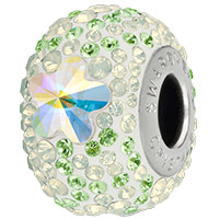Swarovski Crystal BeCharmed Pavé 82143 Peridot, White Opal 14mm Daisy Bead (1-Pc)