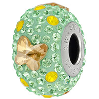 Swarovski Crystal BeCharmed Pavé 82133 Chrysolite 14mm Butterfly Bead (1-Pc)
