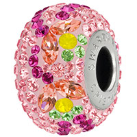 Swarovski Crystal BeCharmed Pavé 82125 Yellow Opal, Peridot, Fuchsia 14mm Tulip Bead (1-Pc)