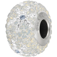 Swarovski Crystal BeCharmed Pave Snowflake Bead 82063 14mm White Opal Bead (1-Pc)