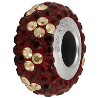 Crystal Swarovski BeCharmed Pave Noel Bead 82072 14mm Siam Bead (1-Pc)