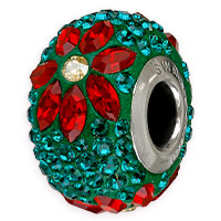 Swarovski BeCharmed Pave Poinsettia Bead 14mm Emerald, Indian Siam, Crystal Golden Shadow (1-Pc)