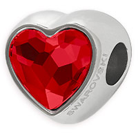Swarovski Crystal BeCharmed 81951 14mm Light Siam Heart Bead (1-Pc)