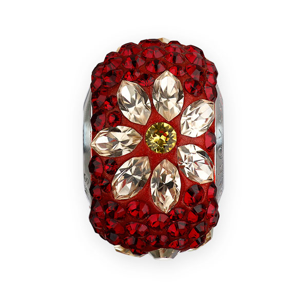 Swarovski Becharmed Pave Poinsettia Bead 14mm Siam Light