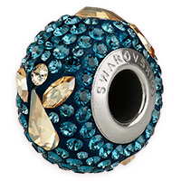 Swarovski BeCharmed Pave Angel Bead 14mm Montana Blue Crystal Golden Shadow (1-Pc)