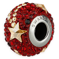 Swarovski BeCharmed Pave Shooting Star Bead 14mm Siam, Crystal Golden Shadow (1-Pc)
