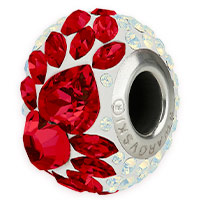 Swarovski Crystal 81883 Flying Heart Pavé BeCharmed Bead 15mm Light Siam (1-Pc)