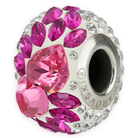Swarovski Crystal 81883 Flying Heart Pavé BeCharmed Bead 15mm Fuchsia (1-Pc)