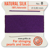 #8 Amethyst Griffin Silk Bead Cord (2 Meters)