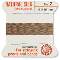 #2 Beige Griffin Silk Bead Cord (2 Meters)