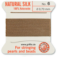 #6 Beige Griffin Silk Bead Cord (2 Meters)