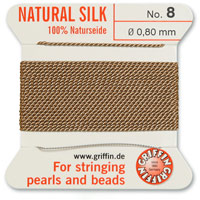 #8 Beige Griffin Silk Bead Cord (2 Meters)