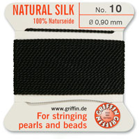 #10 Black Griffin Silk Bead Cord (2 Meters)