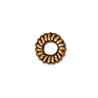 TierraCast Bead Coiled Ring 6x2mm Pewter Gold Plated (2-Pcs)