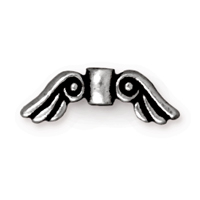 TierraCast 14x5mm Pewter Antique Silver Plated Angel Wing Bead (1pc)