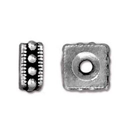 TierraCast Bead Rococo Square 6mmPewter Antique Silver (1-Pc)