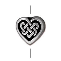 TierraCast Celtic Heart Bead 10mm Pewter Antique Silver (1-Pc)
