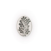 Oval Bead with Tree Branch 13x10mm Pewter (1-Pc)