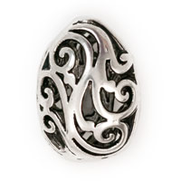 17x13mm Teardrop Pewter Filigree Puff Bead (1-Pc)